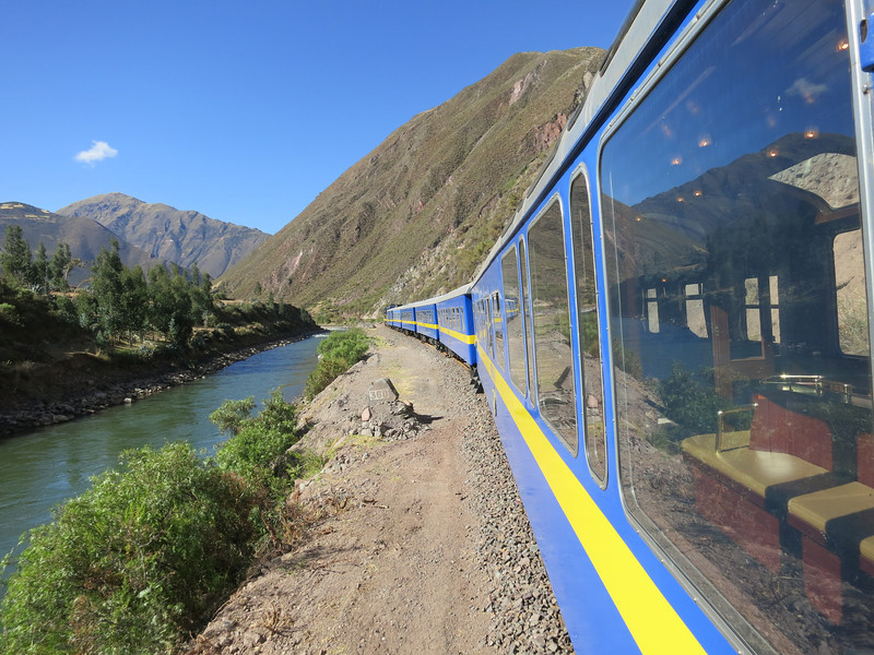 A view as the train climbs up the Urubamba valley