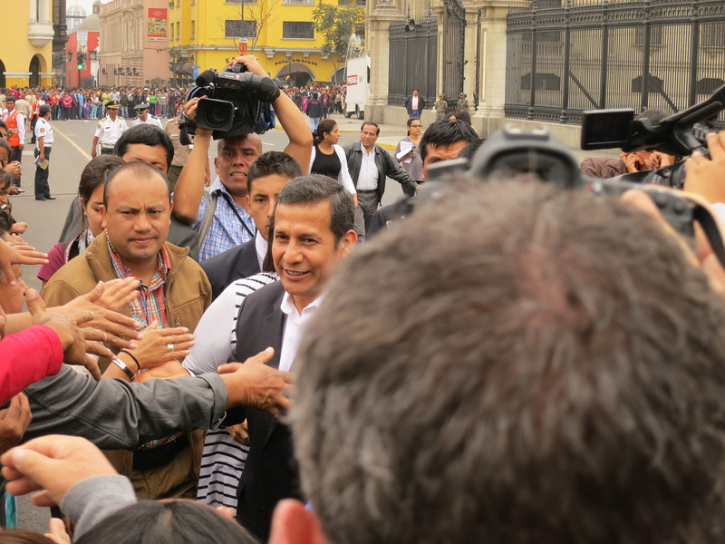 The president of Peru, Ollanta Humala - he came out and worked the entire crowd, and I was about 6 inches from getting a handshake or high five - Yupeng was able to get a handshake