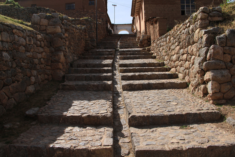 An Incan drainage channel, and of course more stairs in Chinchero.