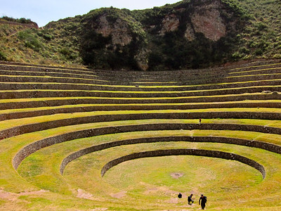 Moray is an archaeological site in Peru. The purpose of these depressions is uncertain, but their depth and orientation with respect to wind and sun creates a temperature difference of as much as 15 °C (27 °F) between the top and bottom. This large temperature difference was possibly used by the Inca to study the effects of different climatic conditions on crops. In other words, Moray was perhaps an Inca agricultural experiment station. As with many other Inca sites, it also has a sophisticated irrigation system. edit