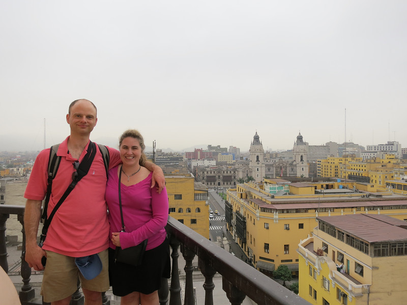 On the top of the bell tower at the Convent of Santo Domingo. Lovely sunny day as always in Lima!