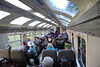 Kind of blurry, but here's a picture of what the inside of the train looked like - pretty light and open, a nice train ride.