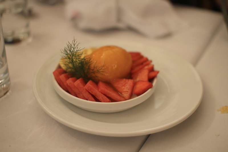 Dessert at Casa Andina - it had fruit, sorbet, and a eucalyptus jelly that was really different, and yummy.