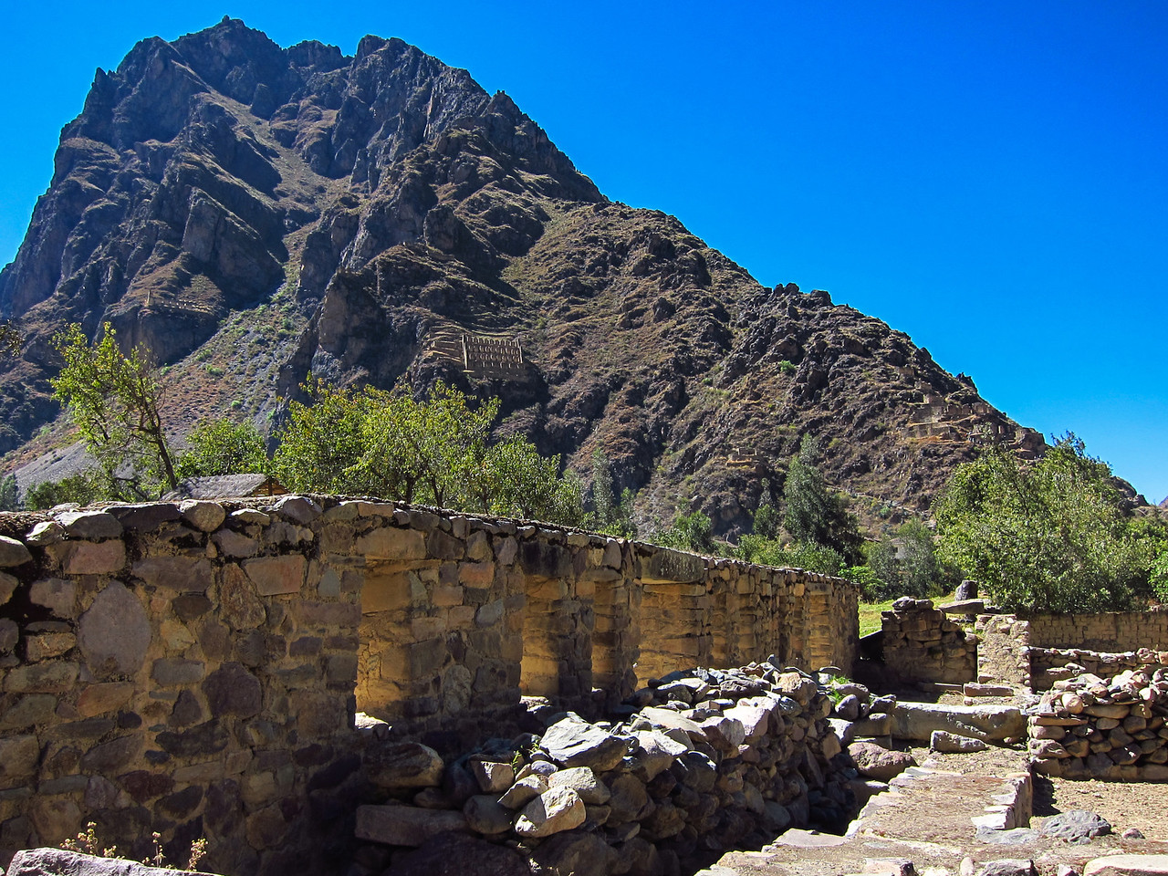 Ollantaytambo ruins and the granary built into the side of the mountain.