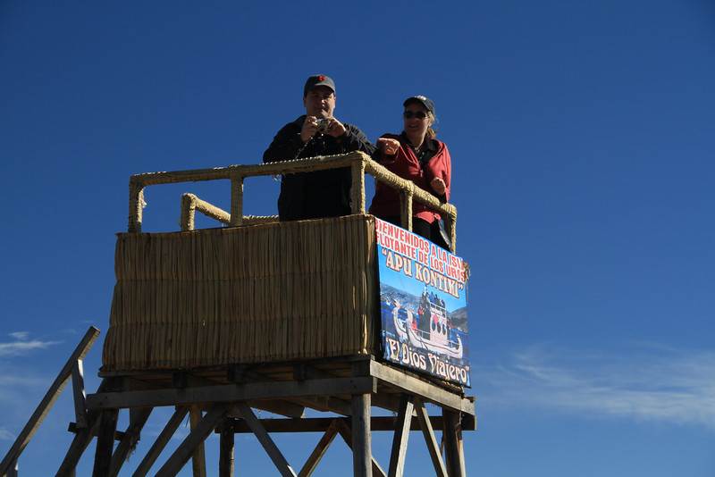 """Aaron and Kay on the lookout tower, and I think that our island was named """"Apu Kontiki"""", but I can't prove that - I can just read the sign, too!"""