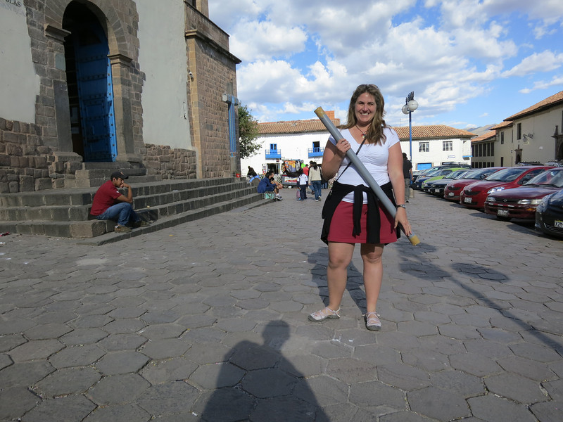 Kay, about to beat me with our rolled up painting in the Plaza de San Blas in Cusco