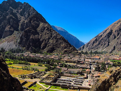 Ollantaytambo, Peru - the Incas build granaries into the side of mountain used to redistribute grains.