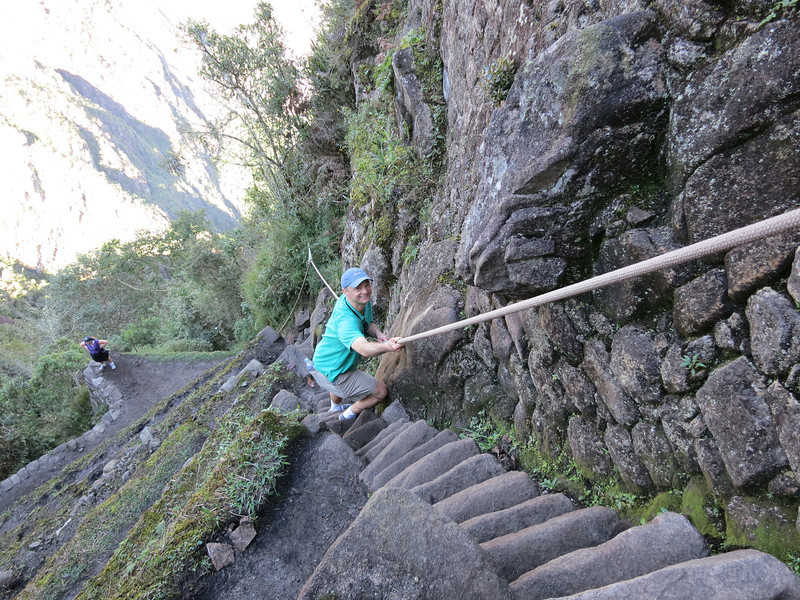 Yeah, I'm a bit embarassed to say how tightly I was gripping that rope, but check out the stairs here.<br /><br />But the whole Wayna Picchu experience was flipping awesome - we're talking highlight of the trip here.