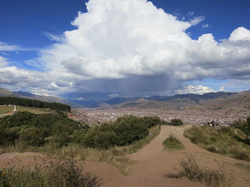 Rain showers over Cuzco.