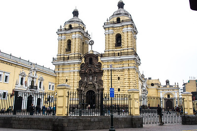 Complex of San Francisco - originally built in 1557 of wood and mud, it was rebuilt, as it stands today, after the earthquake of 1672. Lima, Peru.