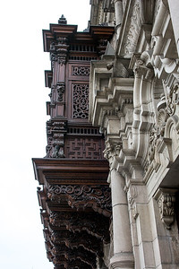 Wood carved balcony.