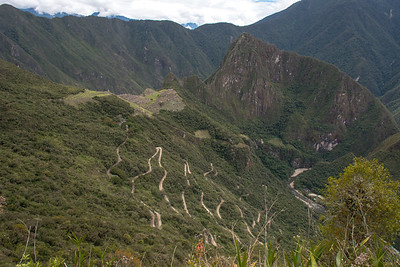 The switchback road up to Machu Picchu.