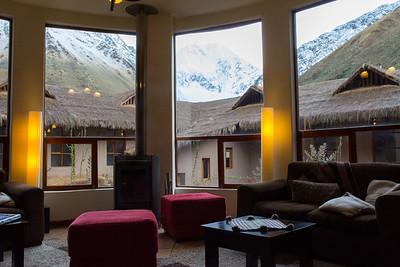 View over lodge to the mountains beyond.