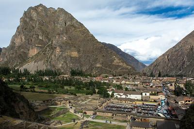 View Pinkuylluna, Inca storehouses.
