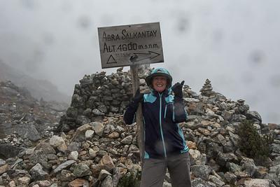 At the top of Salkantay Pass - 15,253'.