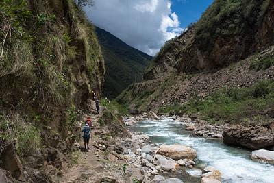 Along the Salkantay River.