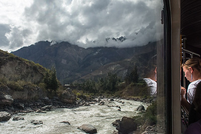 Riding the Peru Rail thru the Sacred Valley - Aguas Calientes to Ollantaytambo, Peru.
