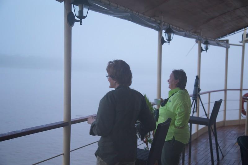 Ucayalli River: Kate and Joan birding in fog