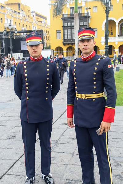 Military men outside the Presidential Palace in Lima