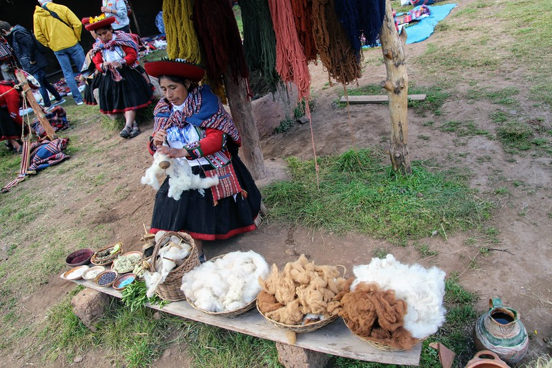 Demonstration of spinning alpaca wool