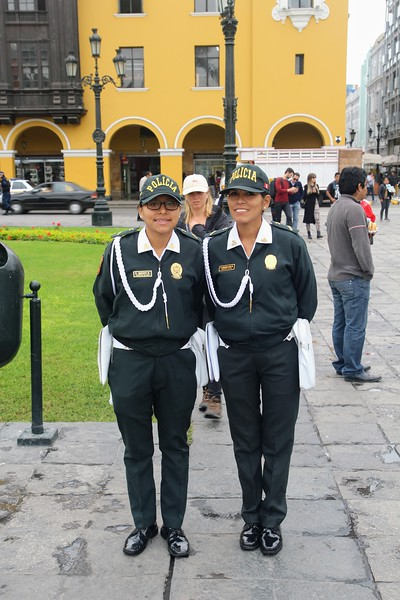 Two policewomen on the main square in Lima