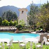 Chapel and pool at the Aranwa Resort in Urubamba
