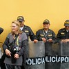 Sabrina with riot police in Lima