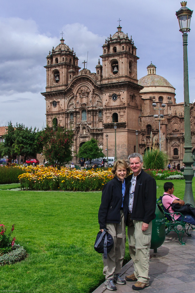 Plaza de Armas, Cusco, Peru (the Inca capital). We landed in Cusco, got picked up by our wonderful guide, Percy, and headed for the lower altitude of the Sacred Valley to get acclimated.