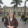 Susan in the Plaza de Armas in downtown Lima.  Behind her is the Presidential Palace which stands on the same spot as the mansion of Francisco Pizarro, conqueror of Peru and the place where he was assassinated.