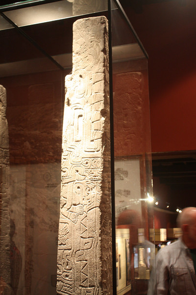 We began at the Museum of Archeology, Anthropology and History in Lima to get an overview of Andean civilizations.  This is the Raimondi stele from Chavin de Huantar around 900 bc, which introduced ethnographic traditions that persisted for centuries.