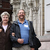 Susan and Dick at the Lima cathedral where Francisco Pizarro is buried.