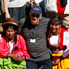 (Photo 0841)  Program Manager Roberto Rocafort with the locals from the floating village in Puno, Peru.