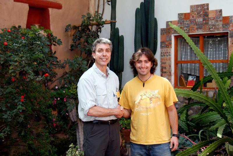 (Photo 0419)  Ralph and Kusi Seminario, the son of world known Pablo Seminario from his Seminario Ceramic Studio located in Urubamba, Peru.
