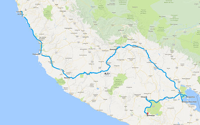Here is a map of our trip.  The section from Cusco to Machu Picchu is not shown since it is by rail (the only way to get there other than hiking).  Once we left Nazca, the rest of the trip was at serious altitudes.  We flew back from Arequipa to Lima to end the trip.