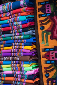 Llama and Alpaca wool products everywhere.  Often very colourful and always very soft.
