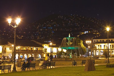 Peru-Land of the Incas | Cusco, the Ancient Capital of the Incas.  Plaza de Arma at Night