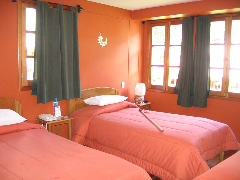We had 3 separate beds, each covered with several warm blankets to ward off the chilly Andean nighttime temperatures.