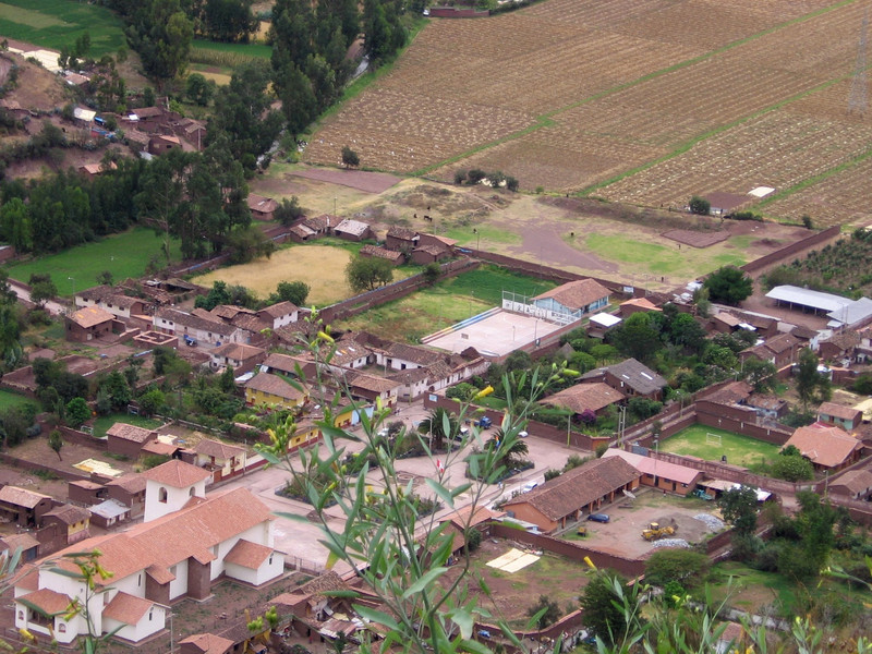 Small village as viewed from the hillside above.