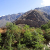 You can see part of the Ollantaytambo ruins nestled into the hillside.