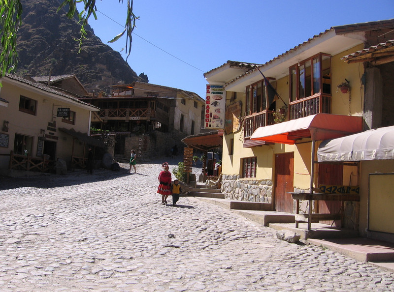 The top of the hotel road dumps you out into this little plaza.  The ruins are to the left and the main square for Ollantaytambo is up the street to the right.