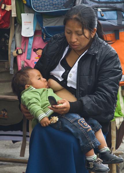 Multi-tasking in Otavalo.