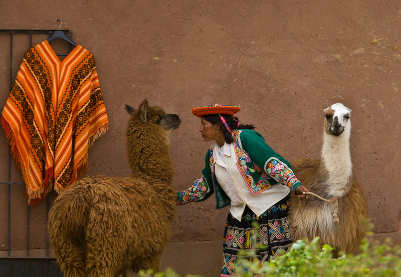 In front of the Alpaca factory, Cuzco.