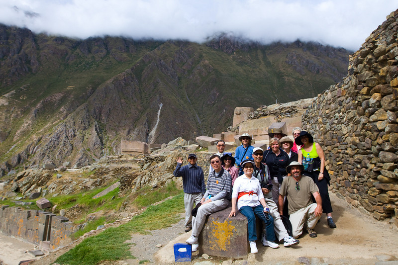 Hiker group on top of Ollantaytambo