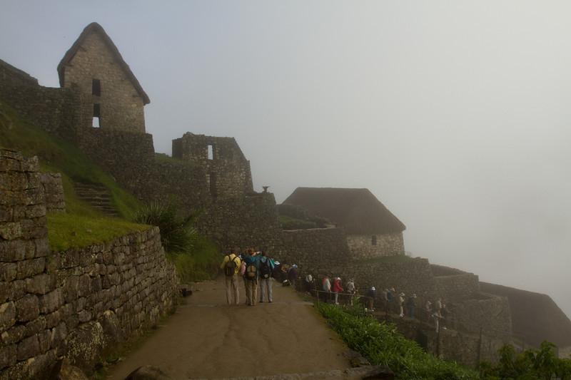 Early morning mist as we start exploring Machu Picchu