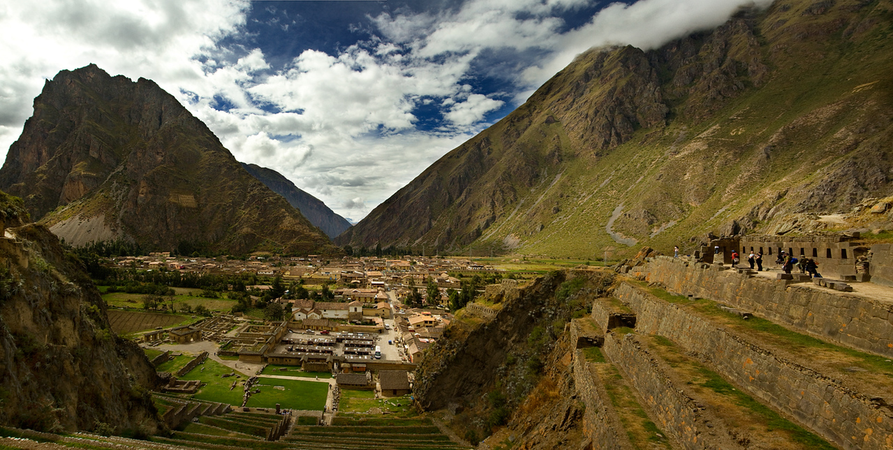 Panoramic view of Ollantaytambo town and an Inca archaeological site - Peru