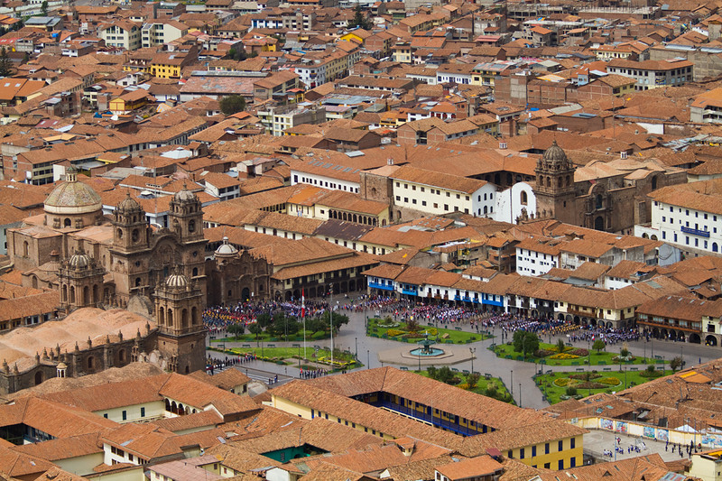 Marching parade in The Plaza de Armas of Cusco
