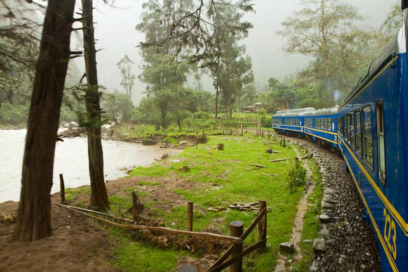 Our train ride mostly in the rain and fog toward Aguas Calientes (town near Machu Picchu)