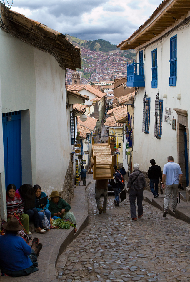 Typical street in historic center of Cusco