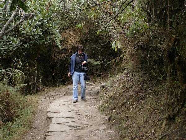 Cyndie navigating Machu Picchu