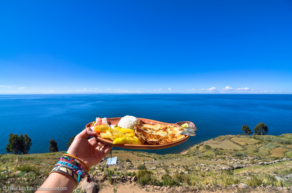 A meal on the Taquile Island in the Lake Titicaca